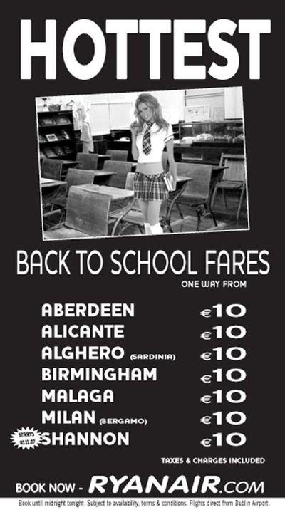 Ryanair schoolgirl ad