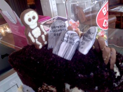 Skeleton on cake